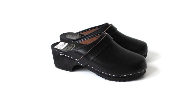 f6715cfc932 Black Wooden Clogs Genuine Leather Shoes Wooden Platform Clogs