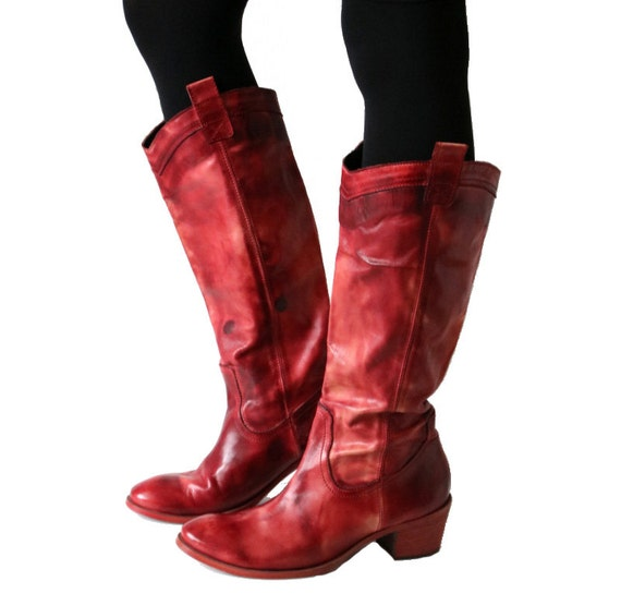 10 Genuine 7 Made Boots Boots Pink 5 Women's Boots Vintage Red 41 in Brown Leather Tall Italy gaqnxIx6vf