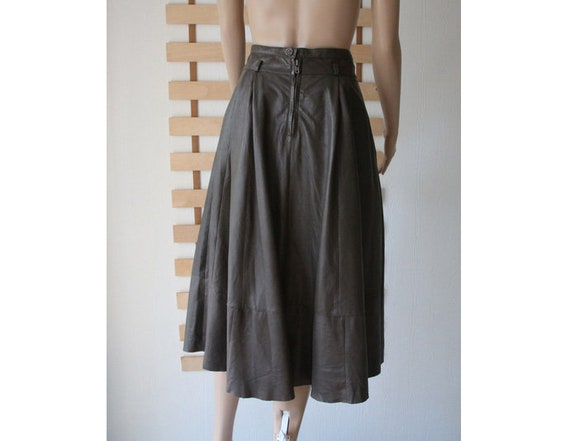 Women's Leather Skirt Gray Brown Soft Leather Skir