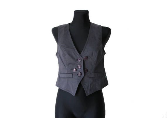 Womens Gray Purple Vest Cotton Formal Waistcoat M… - image 2