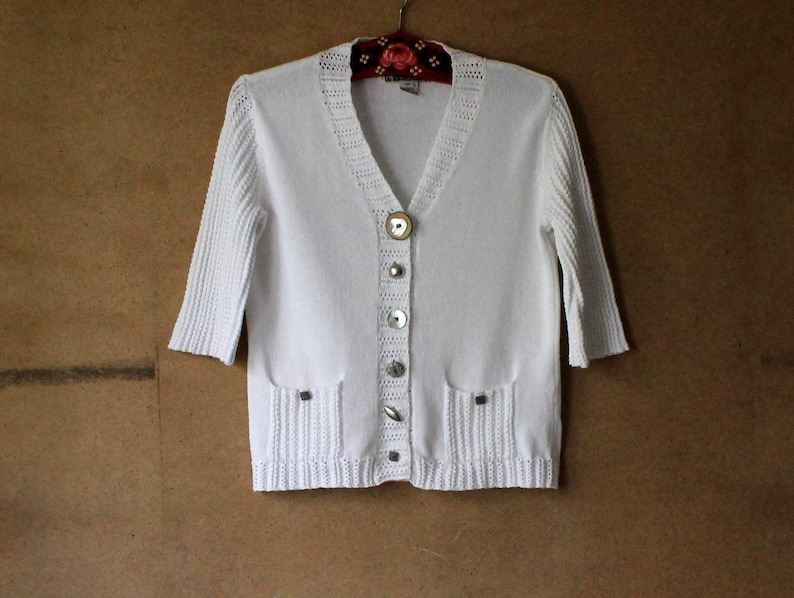 White Cotton Cardigan  Knit Women Cardigan Different Design Buttons 34 Sleeves Medium Size