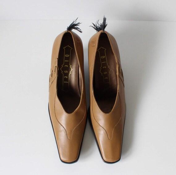 ... DIESEL Mohawk coin Lucite marron Beige inhabituel chaussures en cuir  talon Vintage du wxAqrFwT ... 522e3663c432
