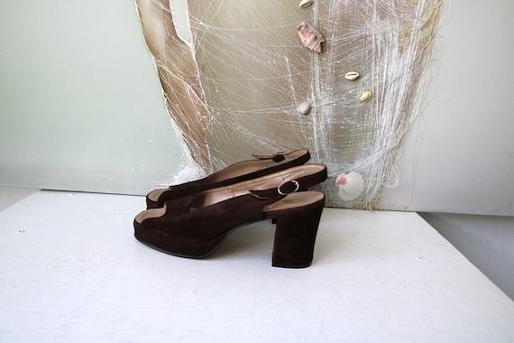 Vintage Platform Shoes Chunky Heel Sandals Brown S