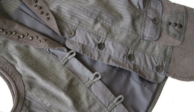 Womens Gray Brown Vest Formal Waistcoat SM Size