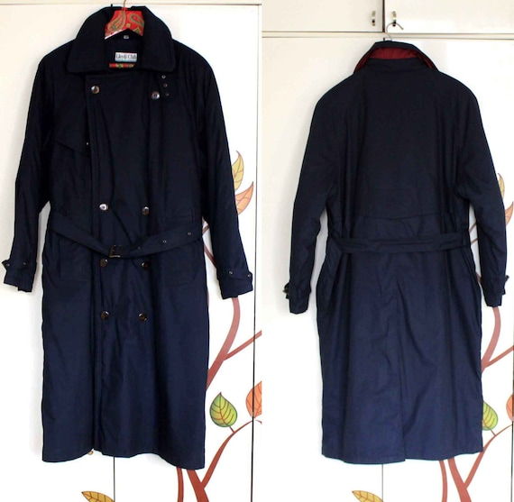 Classic Men's Trench Coat Blue Warm Trench Coat wi