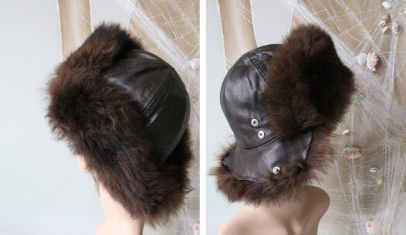 Vintage Russian Leather Hat with Real Fur Mongolia