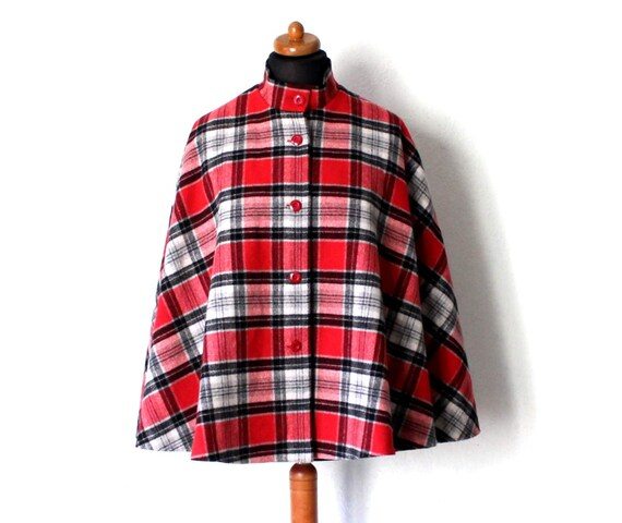 Vintage Draped Plaid Gray Black Red Cape Drape St… - image 5