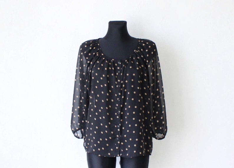 Vintage Black Beige Polka Dot Blouse 34 Sleeve Oversized See Through Blouse Large Size