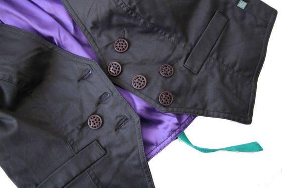 Womens Gray Purple Vest Cotton Formal Waistcoat M… - image 4