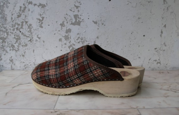 Men's Wooden Clogs Felted Checkered Clogs Platform