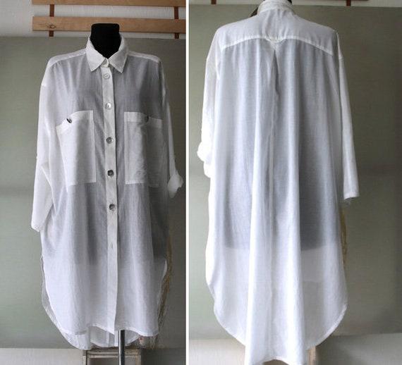Vintage Cotton Blouse Dress Womens White Long Blou