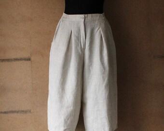 Women's Checkered Long Linen Shorts Bermuda High Waisted  Size Medium Made in Sweden