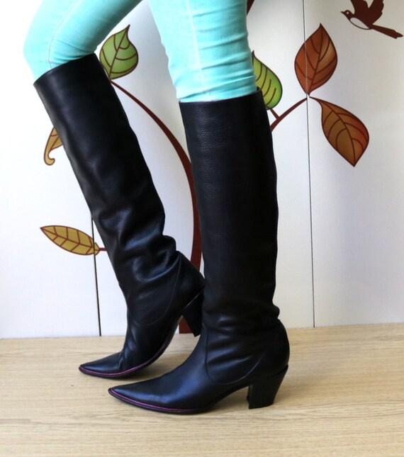NANDO MUZI Knee High Leather Black