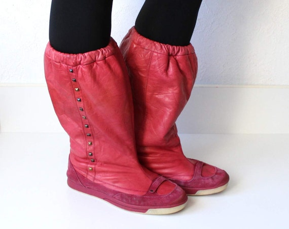 Pink Baggy Mid Faux Suede DIESEL 41 Vintage Boots Studded Size Raspberry Slouchy Calf Fur 10 Leather Winter Lined PwqqvH