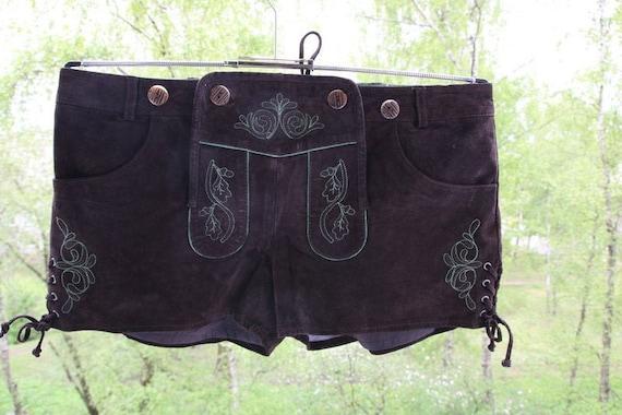 Vintage Suede Leather Brown Shorts Bavarian German
