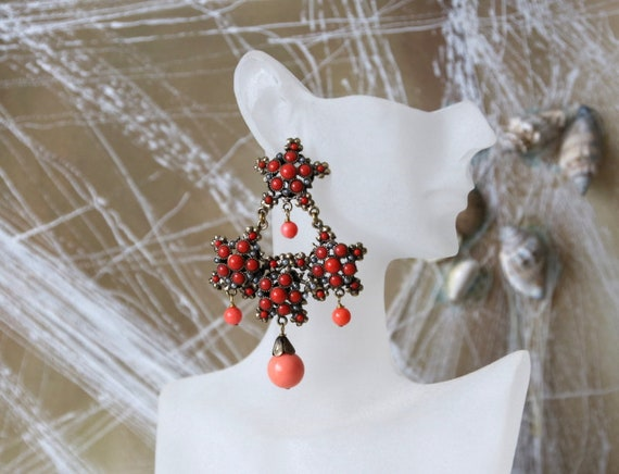 Vintage Brass Coral Earrings Italian Chandelier Ea