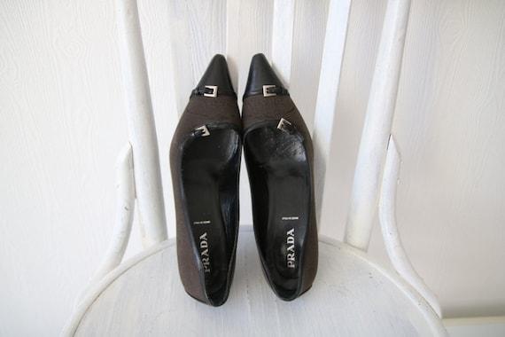 noire Chaussures chaton PRADA toile Vintage talon marron 6 cuir Toe en femmes 8 39 Pointed 5 vqw8X8Tpfx