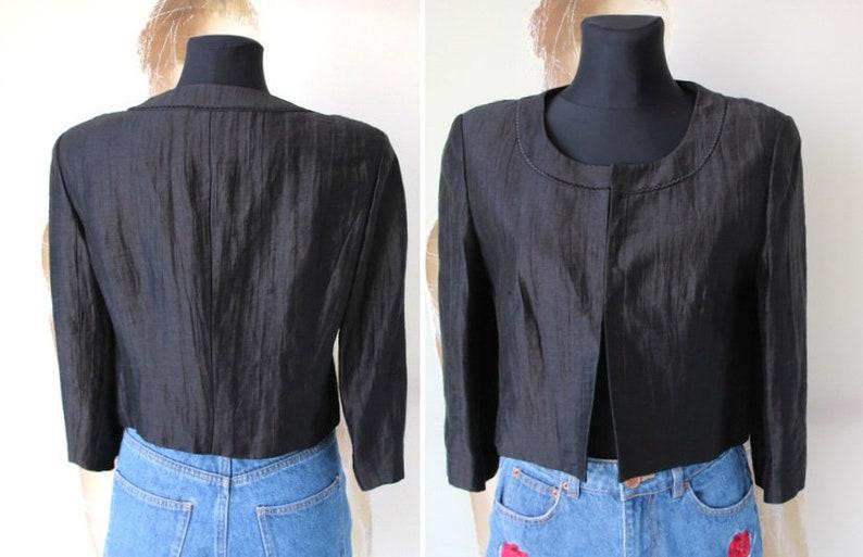 Vintage Gerry Weber Linen Cardigan Black Women Blazer 34 Sleeve Bolero Small Size