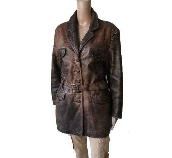 PETROFF Women's Brown Leather Jacket with Belt S/M