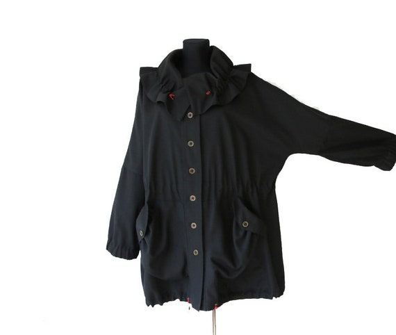 Vintage Black Woolen Women Blazer Oversized Jacket