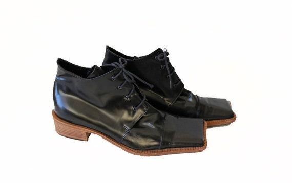 Marimekko Vintage noir verni cuir carré orteil orteil orteil bottines chaussures minimaliste 37 | Modèles à La Mode  5eb67a