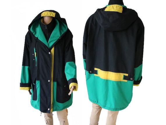 Vintage Women's Black Green Yellow Rainwear Jacket