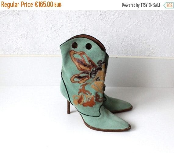 6 Leather Heels Boots 5 Mint ROBERTO Ankle Toes 39 8 Suede High CAVALLI Patchwork Cowboy Applique Style Green Pointed Pale Vintage AwnU6qY