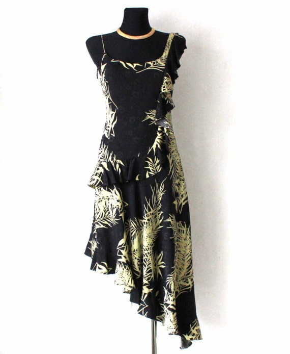 Size Ruffle Olive Print Floral Cocktail Asymmetrical Black Silk Grunge Party Evening Dress Miller Green Pure Small Nicole Dress 84wUTqn