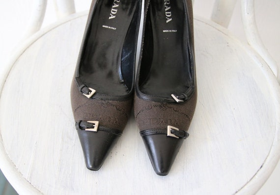 b12797e79ad PRADA Vintage Brown Black Canvas Leather Pointed Toe Shoes