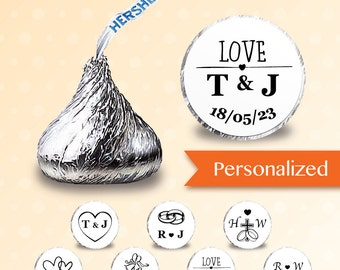 128 x  Personalized Hershey kiss stickers - [Wedding] Candy Stickers