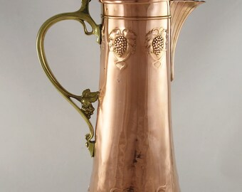 Art Nouveau Wmf Copper And Brass Jug ~ Decanter ~ Pitcher~tankard~ Ostrich~hammered