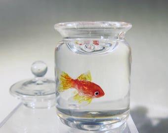 dollhouse miniature fish bowl Miniature goldfish in a candy jar 1:12 scale
