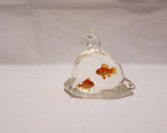 Two miniature goldfish in a plastic bag 1:12 scale