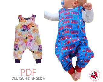 "pdf - ROMPER ""Friderik"" sewing pattern german Gr. 50-92 projector file"