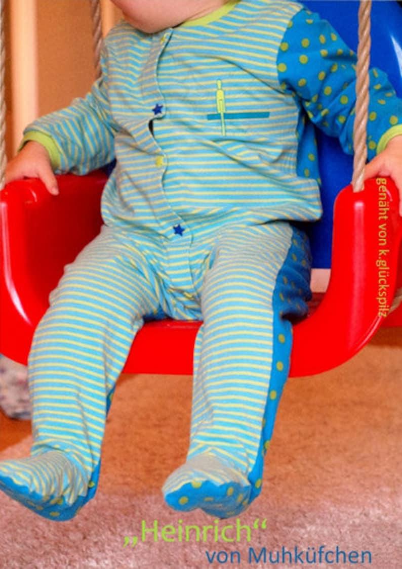 pdf Sizes Newborn-5T coverall romper Heinrich sewing pattern Gr.50-110