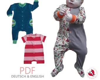 "pdf - coverall romper ""Heinrich"" sewing pattern Gr.50-110 (Sizes Newborn-5T)"