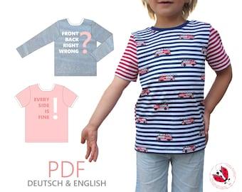 """pdf - reversible shirt """"turnado"""" sewing patterns Gr. 92-164 (18 month - 16 years)"""