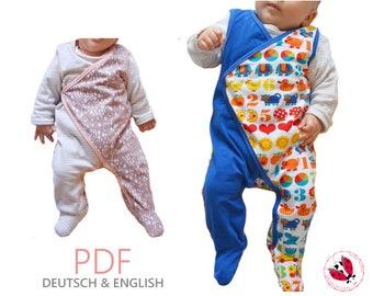 """pdf - wrapped romper """"Krümel"""" sewing pattern Gr. 44-74 (preemie - 9 months)"""