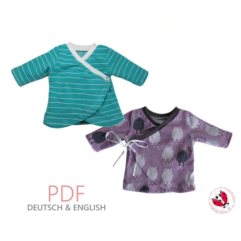 pdf  kimono shirt wrap front baby shirt sewing pattern Gr. image 0