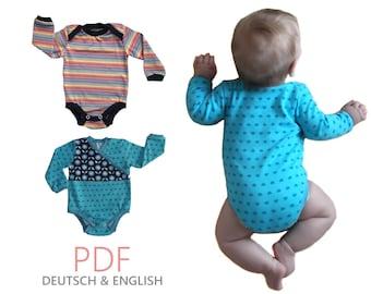 pdf - 2x BODYSUIT-Basics sewing patterns Gr. 44-104 (Sizes Preemie-4T)