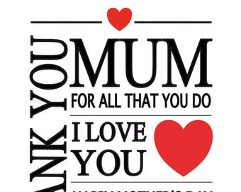 Personalised MOTHER'S DAY Card - Any name - Word Art