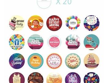 Sticker set happy birthday birthday 38 pieces (A951) 4x4cm