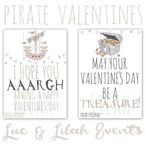 image about Printable Valentines Black and White named Pirate Valentines / Pirate Valentines Working day Playing cards / Printable
