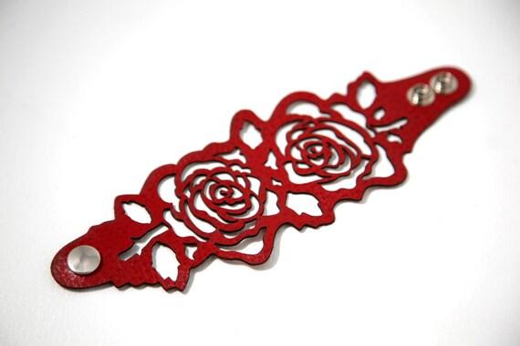 Laser cut leather bracelet cuff with oak tree print