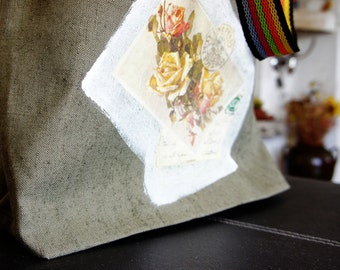 The most comfortable canvas bag ever! ;) Canvas tote bag, made from scratch and decorated with decoupage roses on paint