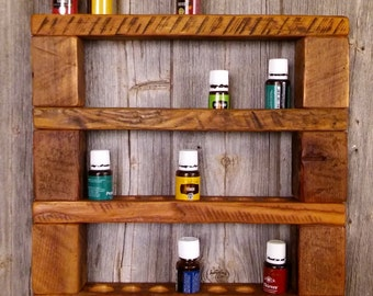 Barnwood Essential Oil Hanging Storage Holder 4 Tier