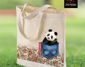 STICKWITHMESHOP Peek-A-Boo Tofu the Panda Cotton Tote Bag