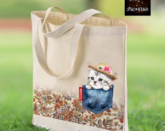 Daniel the Ragdoll Cat Canvas Tote Bag Gifts For Cat Owner