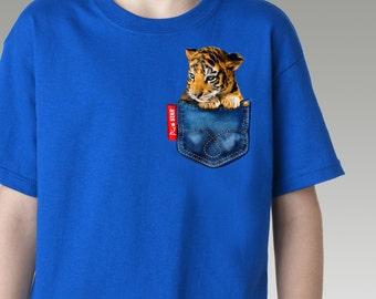 Pet (Little Tiger2)in a jean pocket T-Shirts,baby tiger, fun kids tshirts, couple tee, tiger, animal tshirts, cute t-shirts