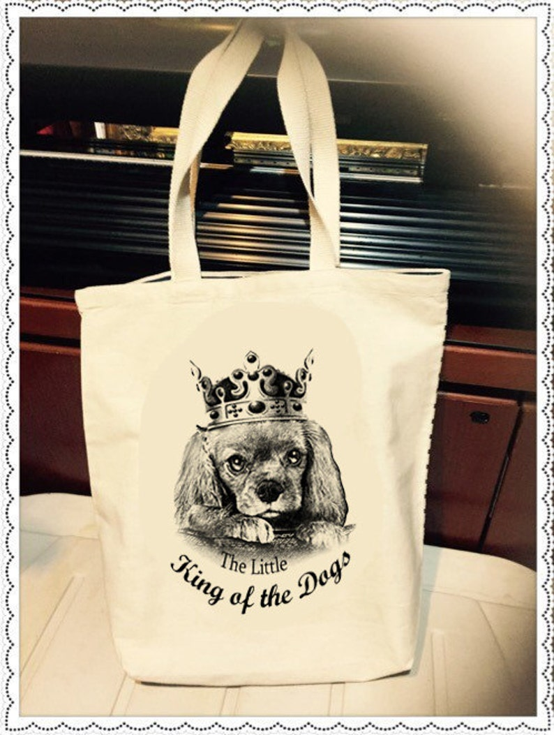 Ruby Cavalier King Charles Spaniel Tote bag,King of the Dogs,pet design tote bag,dog tote,tote bag cotton shopping bag